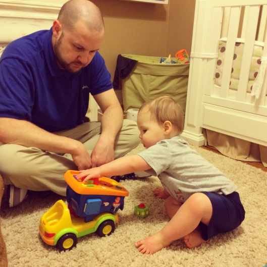 Playing trucks with daddy!