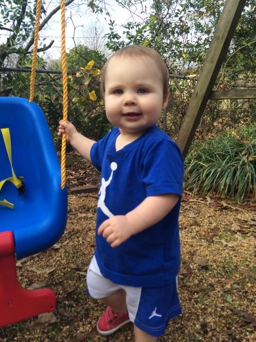 swinging outside on an unseasonably warm day!