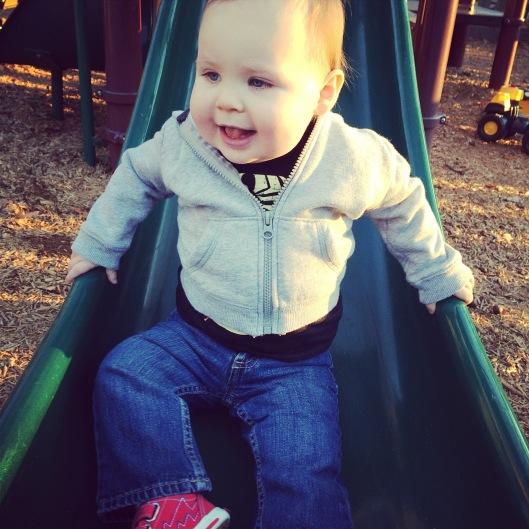 sliding at the park.