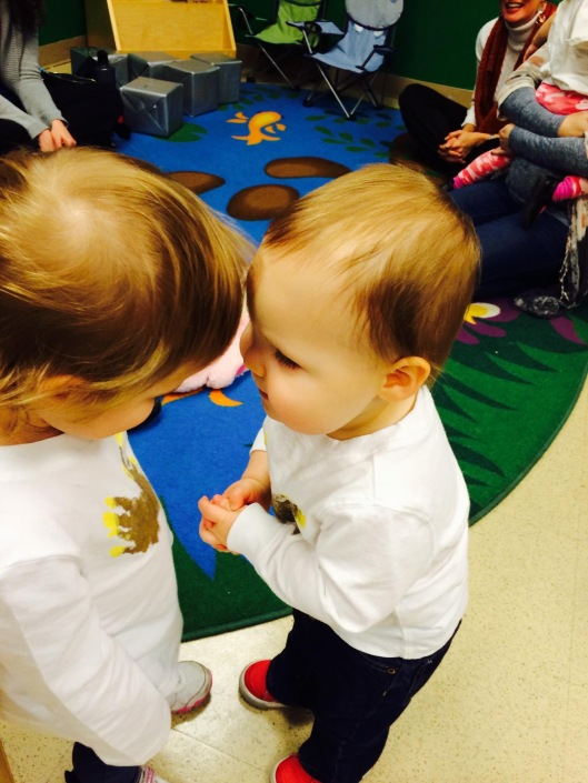 giving kisses to a classmate at school! He loves to give kisses!