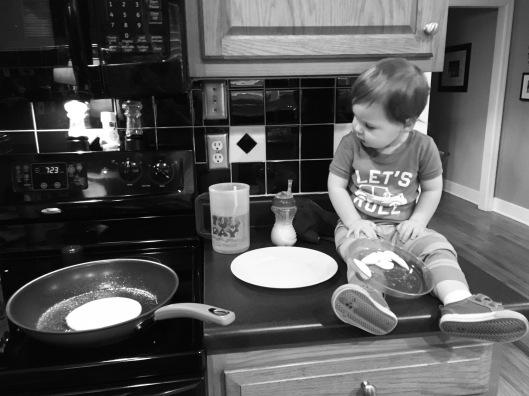 Sunday morning pancake making!